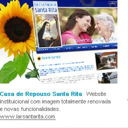 Casa de Repouso Santa Rita   Website instituicional com imagem totalmente renovada e novas funcionalidades. www.larsantarita.com